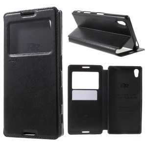 ROAR KOREA for Sony Xperia Z5 Leather View Window Case - Black