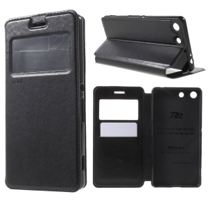 ROAR KOREA View Window Leather Case for Sony Xperia M5 E5653 / M5 Dual E5663 - Black