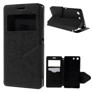 ROAR KOREA Diary View Window Leather Case for Sony Xperia M5 E5603 / M5 Dual E5633 - Black