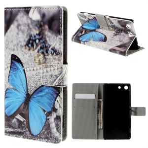 Flip Wallet Stand Leather Cover for Sony Xperia M5 / M5 Dual - Blue Butterfly