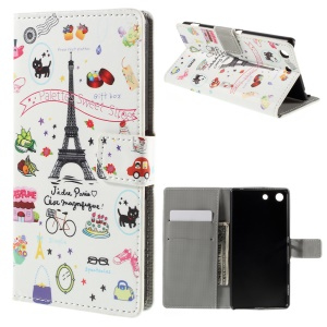 PU Leather Wallet Stand Phone Cover for Sony Xperia M5 / M5 Dual - Palettes Sweet Street