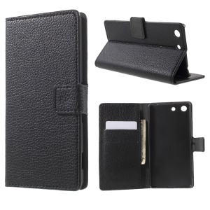 Litchi Texture Wallet Stand Leather Cover for Sony Xperia M5 / M5 Dual - Black