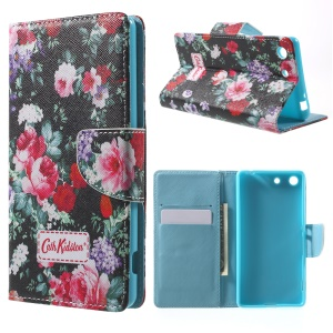 Card Holder Stand Leather Phone Case for Sony Xperia M5 E5603 / M5 Dual E5633 - Blooming Roses