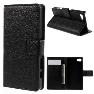 Litchi Leather Flip Cover with Wallet Slots for Sony Xperia Z5 Compact - Black