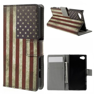 Wallet Leather Stand Case for Sony Xperia Z5 Compact - Vintage US Flag