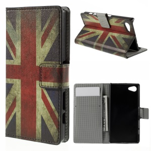 Card Holder Leather Stand Cover for Sony Xperia Z5 Compact - Vintage UK Flag