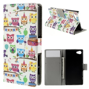 Card Holder Leather Stand Cover for Sony Xperia Z5 Compact - Owl Family