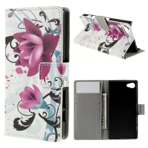 Card Holder Leather Stand Cover for Sony Xperia Z5 Compact - Purple Flower