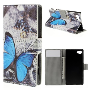 Card Holder Leather Stand Cover for Sony Xperia Z5 Compact - Blue Butterfly