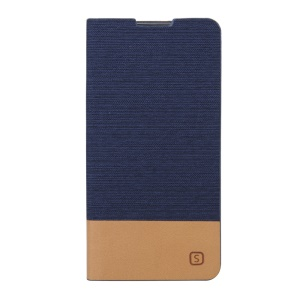 Assorted Color Linen Leather Stand Cover Case for Sony Xperia M5 E5603 / M5 Dual E5633 - Dark Blue