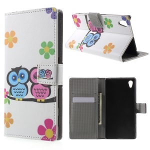 PU Leather Wallet Case Cover for Sony Xperia Z5 / Z5 Dual - Cute Owls and Flowers
