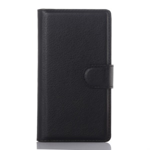 Litchi Skin Wallet Leather Stand Case for Sony Xperia Z5 Compact - Black