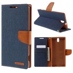 MERCURY GOOSPERY Canvas Wallet Leather Stand Case for Sony Xperia C5 Ultra E5553 / Ultra Dual E5533 - Dark Blue