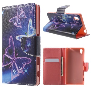 Patterned Wallet Leather Stand Cover for Sony Xperia Z5 / Z5 Dual - Beautiful Butterflies