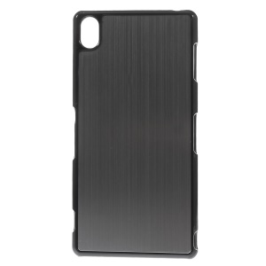 Brushed Aluminum Skin Hard Back Case for Sony Xperia Z3 D6653 D6603 - Black