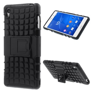 Anti-slip PC and TPU Hybrid Case for Sony Xperia Z3 D6603 D6653 with Kickstand - Black