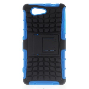 Anti-slip PC and TPU Kickstand Shell for Sony Xperia Z3 Compact D5803 D5833 M55w - Blue