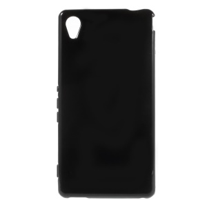 Soft Gel TPU Cover for Sony Xperia M4 Aqua / Dual Glossy Outer Matte Inner - Black