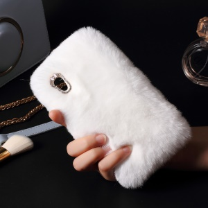 Soft Fur Coated Rhinestone TPU Back Case for Sony Xperia XA1 - White
