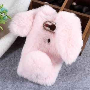 Rabbit Shape Fluffy Fur Coated Rhinestone TPU Case for Sony Xperia XZ2 Compact - Pink