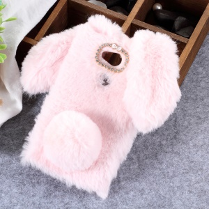 Rabbit Shape Fluffy Fur Coated Rhinestone TPU Case for Sony Xperia L2 - Pink