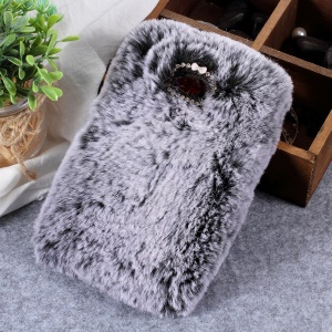 Soft Fur Coated Rhinestone TPU Case for Sony Xperia L2 - Grey