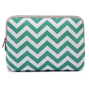 Chevron Pattern Laptop Sleeve Bag for MacBook 12-inch with Retina Display(2015), Size: 33 x 22.5 x 1.5cm - Cyan