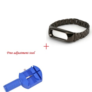 Stainless Steel Strap Replacement with Adjustment Tool for Xiaomi Mi Band 2 - Black