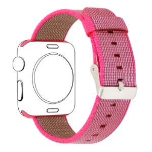 Nylon Woven Wrist Stainless Steel Buckle Replacement Band for Apple Watch Series 4 40mm / Series 3/2/1 38mm - Pink