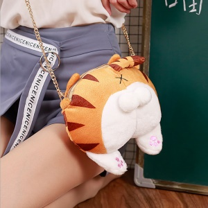Novelty Coin Bag Plush Toy Stuffed Animal Shoulder Bag - Tiger Stripes Cat