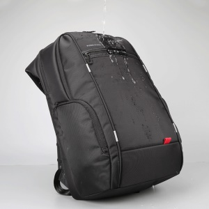 KINGSONS Waterproof Polyester Double Shoulder Backpack Anti-theft Bag for 15.6 inch Laptop - Black