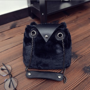 Women's Cute Cartoon Plush Owl Shape Handbag Single Shoulder Bag - Black