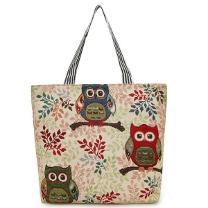 Fashion Owl Pattern Embroidery Canvas Carrier Bag Shoulder Bag for Ladies - Three Owls