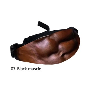 Universal Black Muscle Pattern Waist Bag Pouch with Adjustable Belt - Style G