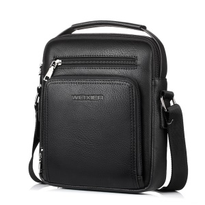 WEIXIER Large Capacity PU Leather Men's Zippered Crossbody Bag - Black