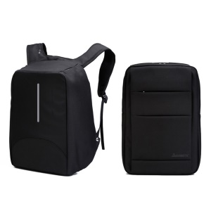 Reversible Anti Theft Business Computer Backpack Shoulder Bag with USB Charging Port and Audio Jack - Black