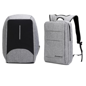 Reversible Anti Theft Business Notebook Backpack with USB Charging Port and Audio Jack - Dark Grey