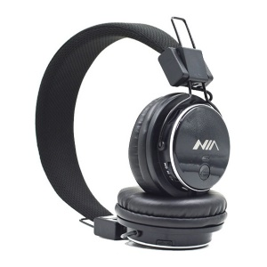 NIA Q8 Adjustable Headband Bluetooth Headphone with Microphone Support FM Radio, Micro SD Player - Black