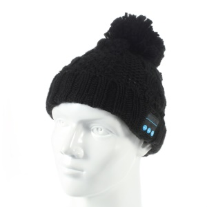 Wireless Bluetooth Knit Hat Receiver Headphone Speaker Microphone Cap - Black