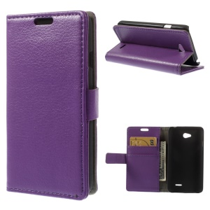 Litchi Leather Wallet Stand Shell for LG L65 D280 / Dual SIM D285 - Purple