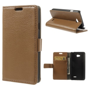Litchi Leather Wallet Stand Shell for LG L65 D280 / Dual SIM D285 - Brown