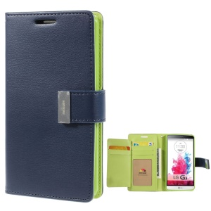 Mercury GOOSPERY Rich Diary Leather Wallet Cover for LG G3 F400 - Dark Blue