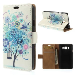 Blue Flower Tree Protective PU Leather Wallet Cover w/ Stand for LG L60 X145