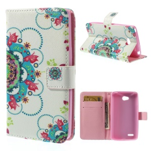 Beautiful Flowers Leather Magnetic Cover w/ Stand for LG L80 Dual SIM D380
