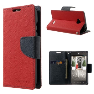 Mercury GOOSPERY Fancy Diary Leather Wallet Case w/ Stand for LG L70 D320 D320N - Red