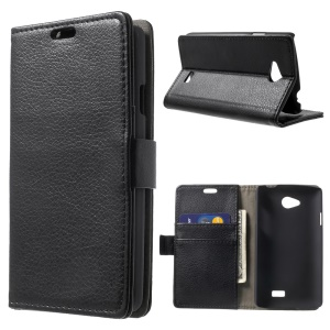 Litchi Skin Wallet Leather Stand Case for LG F60 D390N - Black
