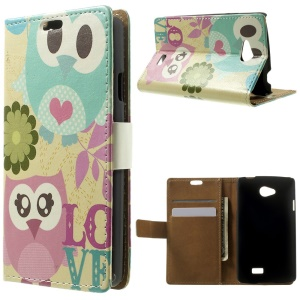 Magnetic Flip Wallet Leather Case for LG F60 D390N - Two Love Owls