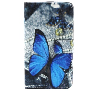 Colorized Leather Wallet Case Cover with Stand for LG G3 D850 D851 D855 - Blue Butterfly