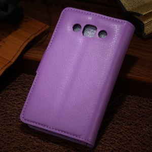 For LG L60 X145 / Dual X147 Lychee Texture Leather Protective Wallet Case - Purple