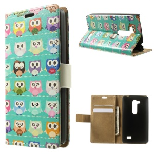 Leather Wallet Stand Shell for LG L Fino D295 Dual SIM - Multiple Owls Cyan Background